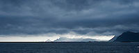 Cloudy weather over mountains of Lofoten islands, Norway