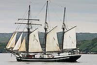 Thor Heyerdahl sailing boat in Stornoway, Outer Hebrides, Scotland, UK
