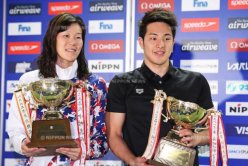 (L-R) Rie Kaneto, Daiya Seto (JPN), <br /> OCTOBER 26, 2016 - Swimming : FINA Swimming World Cup Tokyo <br /> Award Ceremony <br /> at Tatsumi International Swimming Pool, Tokyo, Japan. <br /> (Photo by AFLO SPORT)