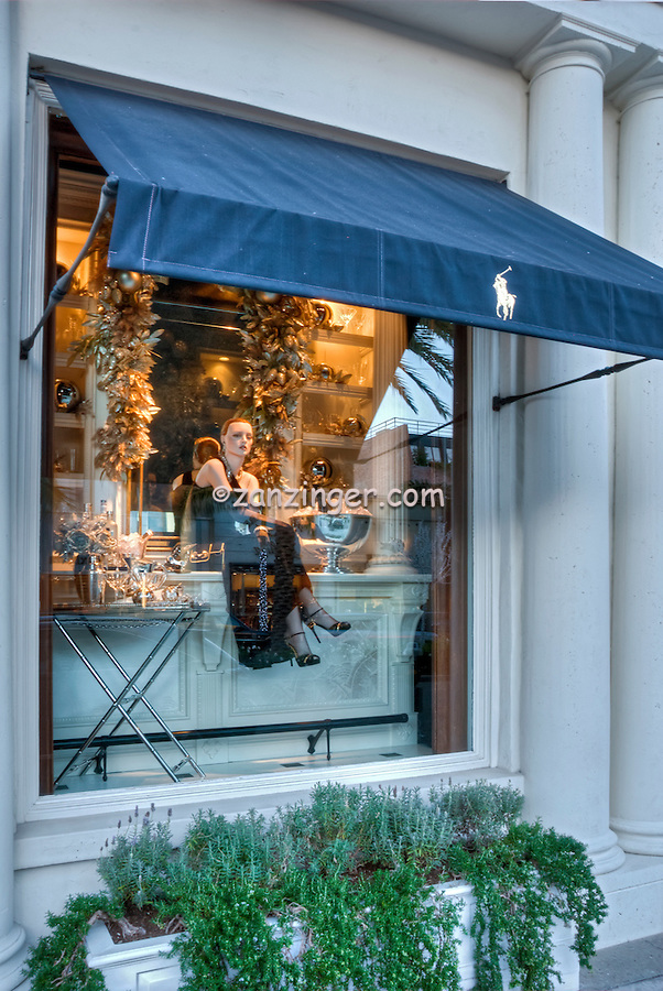 Ralph Lauren, Beverly Hills CA; Rodeo Drive; Window Mannequin Luxury Shopping; Los Angeles CA; , Vertical image