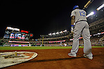 20 September 2012: Los Angeles infielder Hanley Ramirez stands on deck during a game against the Washington Nationals at Nationals Park in Washington, DC. The Nationals defeated the Dodgers 4-1, clinching a playoff birth: the first time for a Washington franchise since 1933. Mandatory Credit: Ed Wolfstein Photo