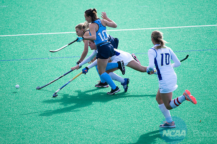 NORFOLK, VA - NOVEMBER 20:  Ally Pollak (6) of the University of Delaware dives for the ball against Julia Young (16) and Eef Andriessen (10) of the University of North Carolina during the Division I Women's Field Hockey Championship held at the LR Hill Sports Complex on November 20, 2016 in Norfolk, Virginia.  Delaware defeated North Carolina 3-2 for the national title. (Photo by Jamie Schwaberow/NCAA Photos via Getty Images)