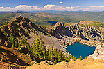 Upper Sardine Lake, as seen from the Sierra Buttes Fire Lookout Trail, Sierra County, Northern, California.