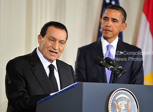 President Hosni Mubarak of Egypt makes remarks as United States President Barack Obama looks on in the East Room of the White House following a series bi-lateral meetings in Washington, D.C. on Wednesday, September 1, 2010.  The statements are in advance of the opening of the first direct talks in two years between Israel and the Palestinian Authority scheduled to begin at the State Department in Washington, D.C. tomorrow.  .Credit: Ron Sachs / Pool via CNP.(RESTRICTION: NO New York or New Jersey Newspapers or newspapers within a 75 mile radius of New York City)