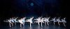 The St Petersburg Ballet Theatre Season <br /> at the London Coliseum <br /> press photocall <br /> 13th August, 1.30pm.<br /> Swan Lake <br /> and 24 swans of the corps de ballet <br /> <br /> <br /> Photograph by Elliott Franks <br /> Image licensed to Elliott Franks Photography Services