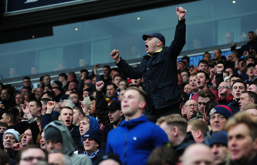 Preston North End fans during the first half<br /> <br /> Photographer Chris Vaughan/CameraSport<br /> <br /> Football - The Football League Sky Bet Championship - Blackburn Rovers v Preston North End - Saturday 2nd April 2016 - Ewood Park - Blackburn<br /> <br /> &copy; CameraSport - 43 Linden Ave. Countesthorpe. Leicester. England. LE8 5PG - Tel: +44 (0) 116 277 4147 - admin@camerasport.com - www.camerasport.com