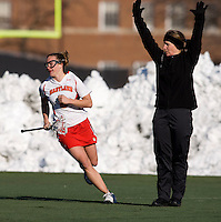 Caitlyn McFadden (3) smiles as the official signals for a goal at the practice turf field in College Park, Maryland.  Maryland defeated Richmond, 17-7.