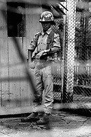 A young Burma Army soldier outside the Secretariat building where Aung San, Burma's independence hero, was murdered.
