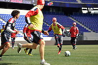 Teemu Tainio (2) of the New York Red Bulls passes the ball during practice on Media Day at Red Bull Arena in Harrison, NJ, on March 15, 2011.