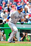 25 April 2010: Los Angeles Dodgers' first baseman James Loney at bat against the Washington Nationals at Nationals Park in Washington, DC. The Nationals shut out the Dodgers 1-0 to take the rubber match of their 3-game series. Mandatory Credit: Ed Wolfstein Photo