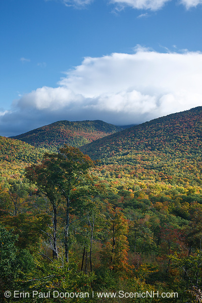 View from Frankenstein Trestle along the old Maine Central Railroad in Crawford Notch of the New Hampshire White Mountains during the autumn months. Since 1995 the Conway Scenic Railroad, which provides passenger excursion trains has been using the track.