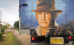 Indiana Jones depicted on the back of a truck near Liang Bua cave.