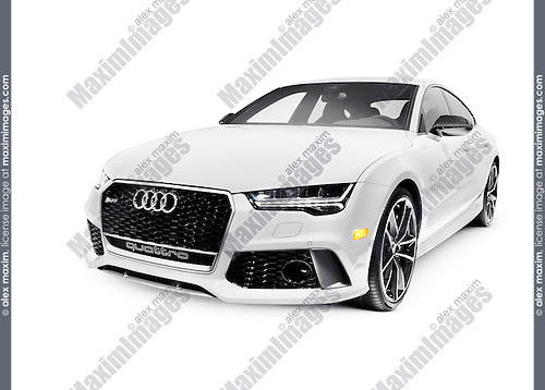 2016 Audi RS 7 Prestige Quattro Sedan luxury car isolated on white background with clipping path
