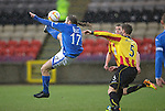 Partick Thistle v St Johnstone....14.12.13    SPFL<br /> Stevie May's overhead kick goes just over the bar<br /> Picture by Graeme Hart.<br /> Copyright Perthshire Picture Agency<br /> Tel: 01738 623350  Mobile: 07990 594431