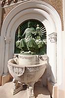 Statue of St Istvan on the Neo Gothic Cathedral (Nagybuldoggasszony Stekesegyhaz)  of Kaposvar capital of Somogy county (megye), Hungary