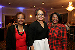 Waterbury, CT- 20 April 2017-042017CM012-  From left, Michele Saavedra-Slappey  and Teresa Butler Thomas with the National Congress of Black Women and Karen Hadley with the WOW Community Center are photographed during The Rivera Memorial Foundation 17th annual scholarship awards banquet on Thursday, April 20th at La Bella Vista in Waterbury.   Christopher Massa Republican-American