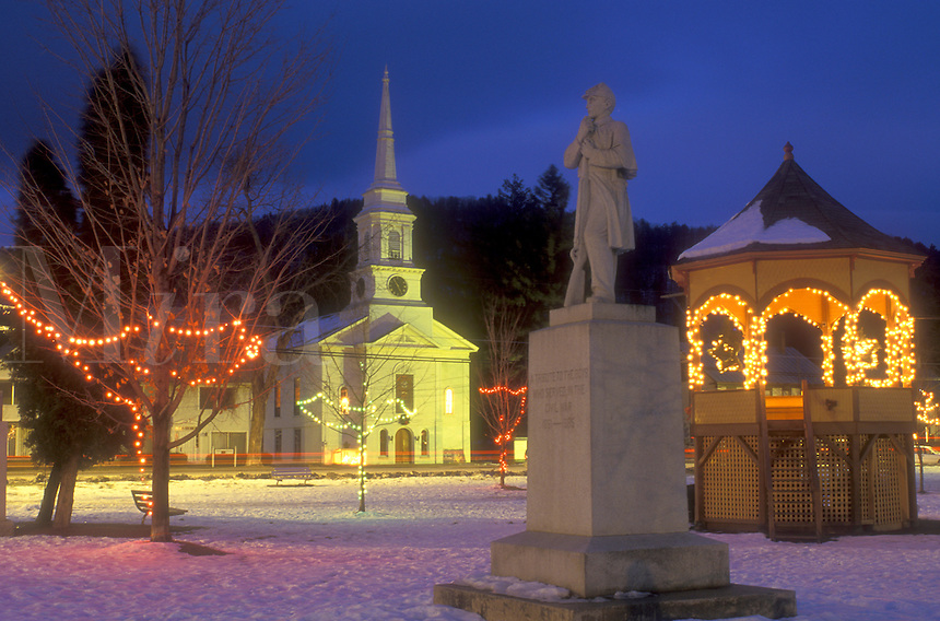 AJ5814, village, town, church, decorations, Christmas, holiday, snow, winter, The church and gazebo on the Green in the evening are decorated for the Christmas holiday season in the town of South Royalton in Windsor County in the state of Vermont.