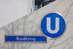 The entrance to the U-Bahn station for one of the German government Bundestag buildings known as the Paul-Loeb-Haus in Berlin Mitte. Named after the last democratic President of the Reichstag, Paul L&ouml;be House was occupied in July 2001. It houses 550 offices for MPs, 19 conference rooms, around 450 offices for parliamentary committees, the Bundestag information service for visitors, and a restaurant that is open to the public. A pedestrian subway connects Paul L&ouml;be House with the Reichstag building. The eastern end of the ribbon of federal buildings extends across the River Spree in the form of a parliamentary office block divided into two parts.