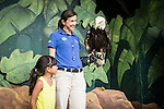 Wild Life Live employee Mandy McGuire shows visitor Brianna Barikzi a bald eagle after the Wild Life Live show  at The Oregon Zoo. © Oregon Zoo / Photo by Carli Davidson