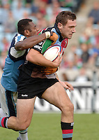 2005_06 National Division One, NEC Harlequins vs Newbury, Quins Tom Guest charge,  carries the tackling Newbury flanker, Isoa DamuDamu. Twickenham Stoop: 17.09.2005   © Peter Spurrier/Intersport Images - email images@intersport-images..