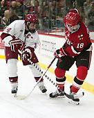 Alexander Kerfoot (Harvard - 14), Jacob Pritchard (SLU - 18) - The Harvard University Crimson defeated the St. Lawrence University Saints 6-3 (EN) to clinch the ECAC playoffs first seed and a share in the regular season championship on senior night, Saturday, February 25, 2017, at Bright-Landry Hockey Center in Boston, Massachusetts.