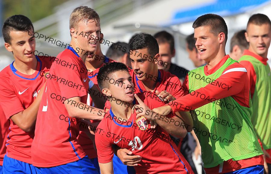Fudbal Soccer-Evropsko prvenstvo 2015  U19-kvalifikaciona runda<br /> Srbija U17 v Finska U17<br /> Zehrudin Mehmedovic (C) celebrate the scoring the goal with Dominik DInga (L)<br /> Beograd, 19.09.2014.<br /> foto: Srdjan Stevanovic/Starsportphoto &copy;
