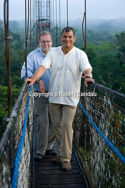 Peter Greenberg and President Correa during filming of The Royal Tour