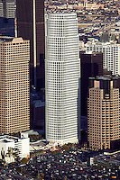 aerial above downtown Los Angeles, California One Wilshire and Ernest and Young offices
