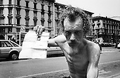From Homeless series.Homeless showing his documents. Milan Italy