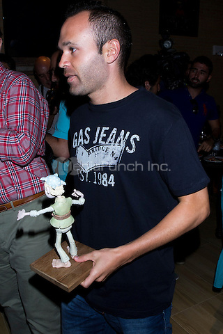 JULY 23, 2012: Presentation of the animated film '¡Piratas!' with FC Barcelona and Spanish football team player, Andres Iniesta at their family Wineries in Fuentealbilla (Albacete-Spain). Credit: Alterphotos/Marta Gonzalez/NortePhoto/MediaPunch Inc. ***FOR USA ONLY***