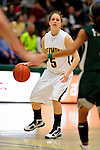 5 December 2009: University of Vermont Catamount guard Kristine Lalonde, a Freshman from Sudbury, Ontario, in action against the Manhattan College Jaspers at Patrick Gymnasium in Burlington, Vermont. The Catamounts defeated the visiting Jaspers 78-59 to mark the Lady Cats' second home win of the season. Mandatory Credit: Ed Wolfstein Photo