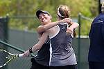 21 April 2016: Notre Dame's Allison Miller embraces Brooke Broda after Broda won the match for Notre Dame. The University of Notre Dame Fighting Irish played the Clemson University Tigers at the Cary Tennis Center in Cary, North Carolina in the second round of the Atlantic Coast Conference Women's Tennis Tournament. Notre Dame won the match 4-1.