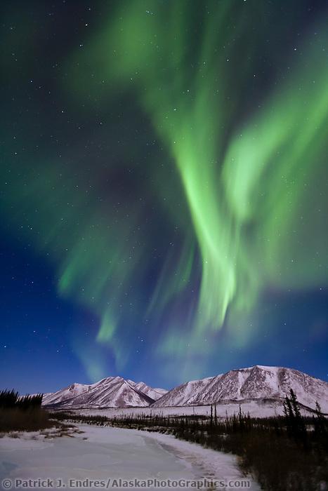 Northern lights over the south fork of the Koyukuk river, Brooks range, Arctic, Alaska