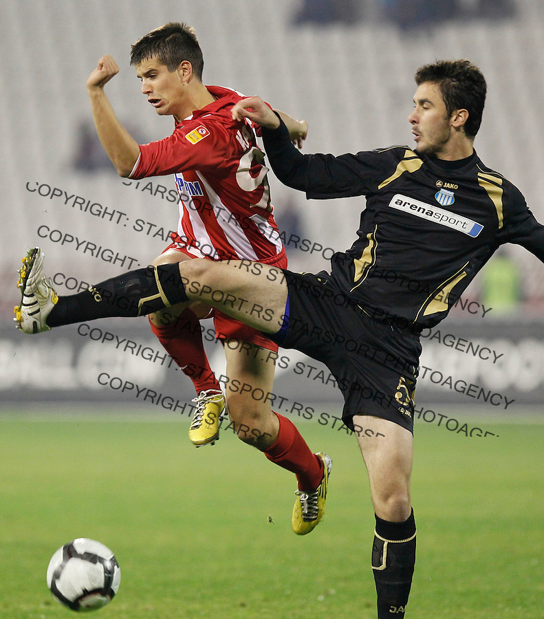 Fudbal, Jelen super liga, sezona 2010/11.Crvena Zvezda Vs. OFK Beograd.Andrija Kaludjerovic, left and Ivan Kecojevic, right.Belgrade, 06.11.2010..foto: Srdjan Stevanovic/Starsportphoto ©