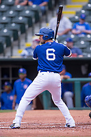 Charlie Culberson (6) of the Oklahoma City Dodgers waits for a pitch during a game against the Iowa Cubs at Chickasaw Bricktown Ballpark on April 9, 2016 in Oklahoma City, Oklahoma.  Oklahoma City defeated Iowa 12-1 (William Purnell/Four Seam Images)