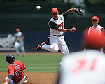 Mississippi's Matt Smith (16) is forced out by St. John's Joe Panik (2) on a double play during an NCAA Regional game at Davenport Field in Charlottesville, Va. on Sunday, June 6, 2010.