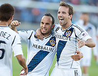 Stanford, California - Saturday June 30, 2012: Mike Maggie and Landon Donovan celebrating afte Landon Donovan's goal during aat Stanford Stadium, Stanford, Ca.San Jose Earthquakes defeated Los Angeles Galaxy,  4 to 3