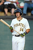 Third baseman Jose Salazar (14) of the Bristol Pirates in a game against the Greeneville Astros on Saturday, July 26, 2014, at DeVault Memorial Stadium in Bristol, Virginia. Greeneville won, 2-1 in Game 1 of a doubleheader. (Tom Priddy/Four Seam Images)