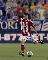 Chivas USA defender Heath Pearce (3) passes the ball. In a Major League Soccer (MLS) match, Chivas USA defeated the New England Revolution, 3-2, at Gillette Stadium on August 6, 2011.