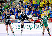 Susann Mueller of Krim during handball match between RK Krim Mercator and Gyori Audi ETO KC (HUN) in 3rd Round of Group B of EHF Women's Champions League 2012/13 on October 28, 2012 in Arena Stozice, Ljubljana, Slovenia. (Photo By Vid Ponikvar / Sportida)