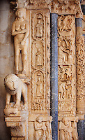 Romaesque doorway with sculptures of Eve by the Croatian architect Master Radovan. Saint Lawrence Cathedral - Trogir - Croatia<br /> <br /> One of the most beautiful towns on the Croatian coast is Trogir. Surrounded by water Trogir is an unspoiled medieval city with narrow streets leading to its medieval Cathedral of St Lawrence. The Romanesque porch has wonderful early medieval sculptures by the Croatian architect Master Radovan. From the Cathedral tower there is a picturesque view across the pan tiled roof tops of Trogir. <br /> <br /> In the 3rd century BC, Tragurion was founded by Greek colonists from the island of Vis, and it developed into a major port until the Roman period. The name comes from the Greek &quot;tragos&quot; (male goat). Similarly, the name of the neighbouring island of Bua comes from the Greek &quot;voua&quot; (herd of cattle). The sudden prosperity of Salona deprived Trogir of its importance. During the migration of Slavs the citizens of the destroyed Salona escaped to Trogir. From the 9th century on, Trogir paid tribute to Croatian rulers. The diocese of Trogir was established in the 11th century (abolished in 1828; it is now part of the Roman Catholic Archdiocese of Split-Makarska) and in 1107 it was chartered by the Hungarian-Croatian king Coloman, gaining thus its autonomy as a town.<br /> <br /> Trogir should be high on any visit to Croatia
