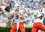 06 October 2007: Miami's Kyle Wright drops back to pass. The University of North Carolina Tar Heels defeated the University of Miami Hurricanes 33-27 at Kenan Stadium in Chapel Hill, North Carolina in an Atlantic Coast Conference NCAA College Football Division I game.