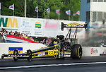 May 4, 2012; Commerce, GA, USA: NHRA top fuel dragster driver Morgan Lucas during qualifying for the Southern Nationals at Atlanta Dragway. Mandatory Credit: Mark J. Rebilas-