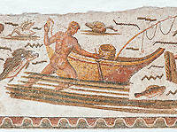 Roman mosaic depicting fishermen.  The fisherman is pushing his boat which had a rod and line on the front of it. From the reign of Emperor Gallienus 260-280 AD. Excavated from The House of Dionysus and Ulysses, Dougga. Roman mosaics from the north African Roman province of Africanus . Bardo Museum, Tunis, Tunisia.Roman mosaics from the north African Roman province of Africanus .  Inv 2384, Bardo Museum, Tunis, Tunisia.