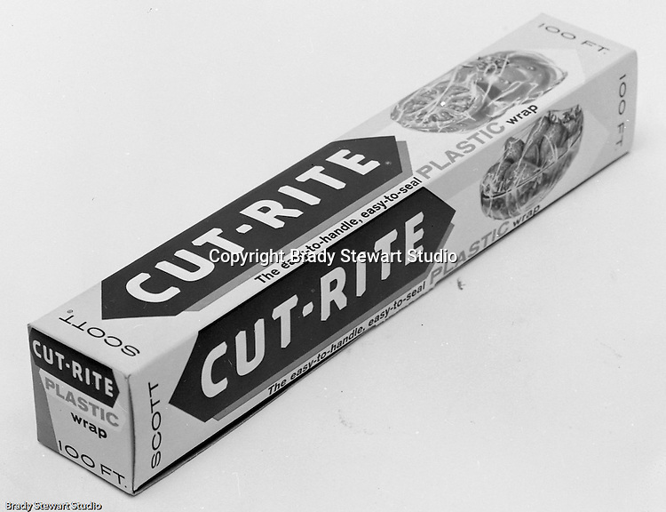 Client: Scott Paper Corporation<br /> Ad Agency: Ketchum MacLeod and Grove<br /> Product: Cut-Rite Plastic Wrap<br /> Location: Brady Stewart Studio, 725 Liberty Avenue in Pittsburgh<br /> <br /> Studio photography of the new packaging of Scott's Cut-Rite Plastic Wrap.<br /> Headquartered near Philadelphia, Scott Paper was founded in 1879 and operated up until it was acquired by Kimberly-Clark in 1995.  The Cut-Rite division was sold to Reynolds in 1986 and is still being sold today.