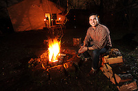 NWA Democrat-Gazette/ANDY SHUPE<br /> Michael Iseman serves as President and Executive Director at BioBotic Solutions Inc. His favorite place at his home in south Fayetteville is the fire pit in his backyard. Wednesday, Jan. 18, 2017.