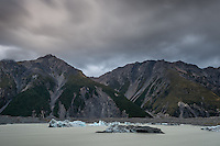 Icebergs from Tasman Glacier on Tasman Lake, Aoraki, Mt. Cook National Park, Mackenzie Country, Canterbury, UNESCO World Heritage Area, New Zealand, NZ
