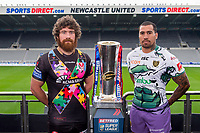 Picture by Allan McKenzie/SWpix.com - 15/05/2017 - Rugby League - Dacia Magic Weekend 2017 Preview - St James Park, Newcastle, England - St Helens's Kyle Amor & Hull FC's Fetuli Talanoa with the Betfred Super League trophy ahead of their Magic Weekend game.