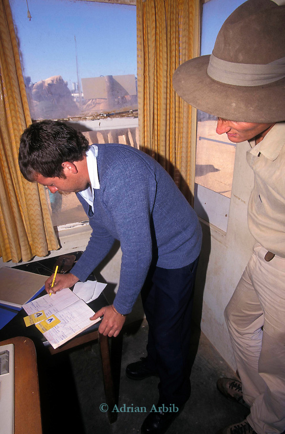 Explorer  Benedicat Allen signing in to get special access to The Namib Naukluft diamond desert. This area is owned by De Beers and is completely restricted. It is said that diamonds can be found lying around on the surface of the ground.  Allen travelled the entire length of the coastline of Namibia using camels.