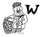 (Man selling basket of eggs, and letter 'W')